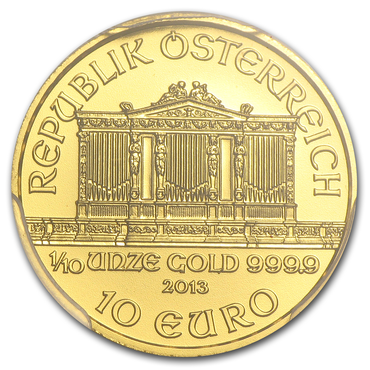 2013 Austria 1/10 oz Gold Philharmonic MS-69 PCGS
